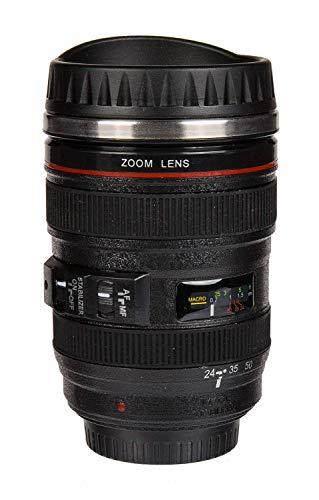 Mug Camera zoom Lens Tazza in acciaio forma obiettivo 350 ml teleobiettivo colore nero