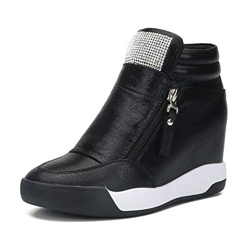 LIURUIJIA Women's Hidden Wedge Platform Heel Fashion Sneakers High Top Flats Casual Walking School Shoes for Girls Boots Black 2-40(40/US8)