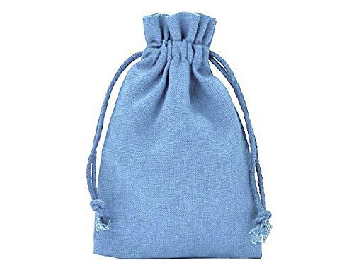 12 Baumwollsäckchen, Baumwollbeutel in Größe 10x7,5 cm mit Baumwollkordel, Geschenksäckchen, Adventskalender (Fliederblau)