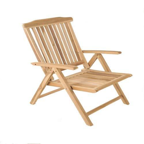 SAM Garten-Hochlehner Regulable en 5 Posiciones, Silla Plegable para balcón y jardín, Madera de Teca, marrón, Gartenstuhl Aruba