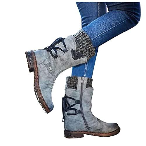 LLDG Damen Stiefeletten halbhoch schneestiefel Mode Outdoor Boots Plateau Absatz Schlupfstiefel rutschfest Langschaft schneeboots filzschuhe aus Veloursleder Ostalgische Ankle Boots Bootie
