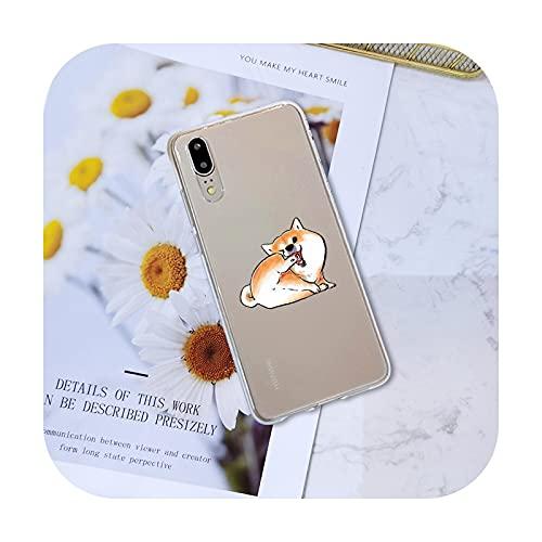 Funda de silicona suave para Huawei P8 P9 P10 P20 Lite Pro Plus 2017 P Smart P9 Lite Mini Lindo Perro Kawaii Shiba Inu Back Cover-No.4-Para P8 Lite 5 pulgadas