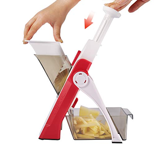 ONCE FOR ALL Gemüseschneider mit Auffangbecken, Gemüsehobel ideal als Pommesschneider & Kartoffelschneider, Zwiebelschneider Gurkenhobel - Würfelschneider, Julienner - Multischneider