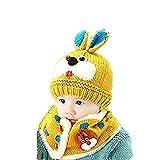 Wintermütze Junge Mädchen Schalmütze mit Plüschfutter Verdickte Strickmütze Strickschal Set Cartoon Tiermütze mit Earflap Gestrickte Kindermütze Kleinkinder Ohrenschutz Mütze Weiche Warme Kappe