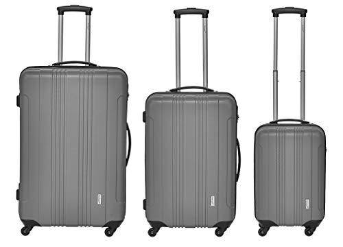Packenger Kofferset - Torreto - 3-teilig (M, L & XL), 4 Rollen, Koffer mit Zahlenschloss, Hartschalenkoffer (ABS) robuster Trolley Reisekoffer (Grau)