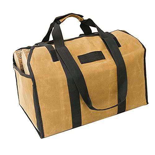 薪バッグ ログキャリー 薪ケース 大容量 防水 折り畳み 持ち運び 暖炉 薪ストーブ用品 2wayバッグ 帆布製(カーキ)
