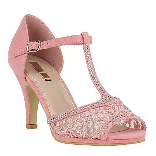 stiefelparadies Riemchensandaletten Damen Schuhe Spitze Sandaletten Strass Stilettos 150459 Rosa Spitze Strass 36 Flandell