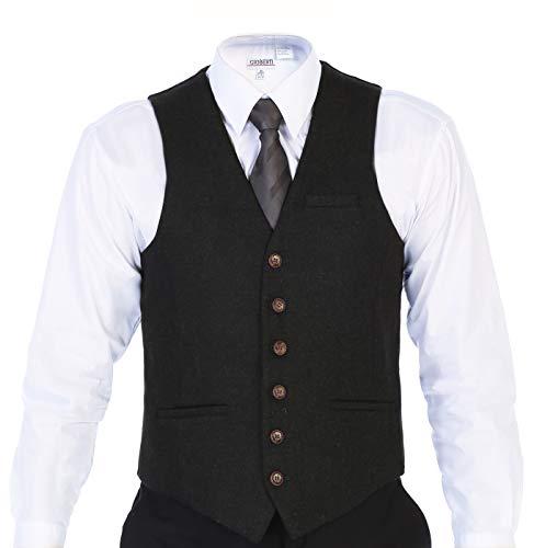 Gioberti Men's 6 Button Slim Fit Formal Herringbone Tweed Vest, Donegal Olive, X Large