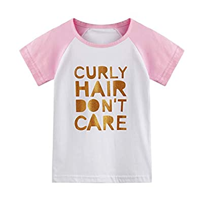Toddler Baby Girls Boys Raglan Tees for Short Sleeve Cotton T-Shirt Baseball Jesey Culy Hair Don't Care … Pink