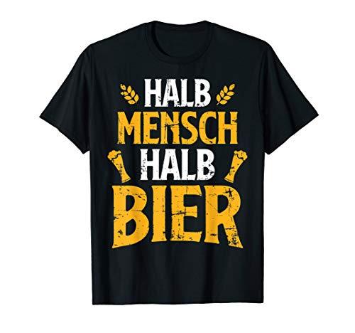 Herren Halb Mensch Halb Bier Sauf Alkohol Statement Geschenkidee T-Shirt