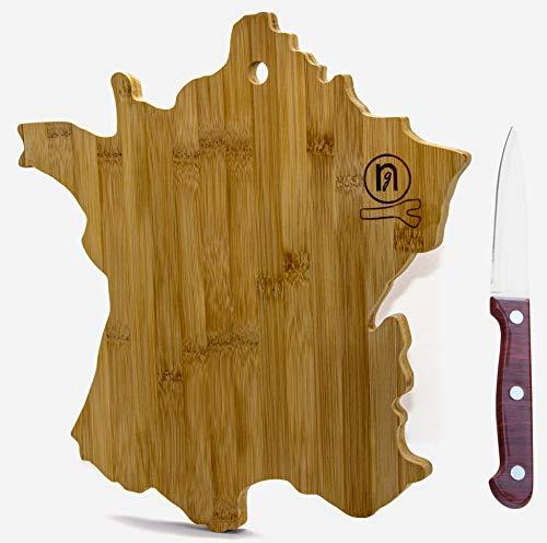 Nature's Good ® Planche à découper Bois Naturel - Bambou cusine – Carte de France– Service Assiette – Couteaux de Cuisine (France)