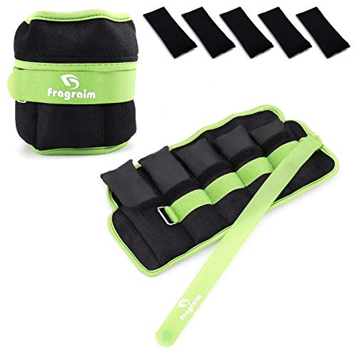 Fragraim Adjustable Ankle Weights 1-4 LBS Pair with Removable Weight for Jogging, Gymnastics, Aerobics, Physical Therapy, Resistance Training|Each 0.4-2 LBS, Total 4LBS, Green