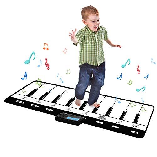 "Kids Piano Mat 43"" Keyboard Play Mat 10 Keys Floor Piano Mat for Kids Musical Piano Mat with 8 Musical Instruments, Record, Playback, Demo, Play, Best Birthday Gifts for Girls, Boys,Children"