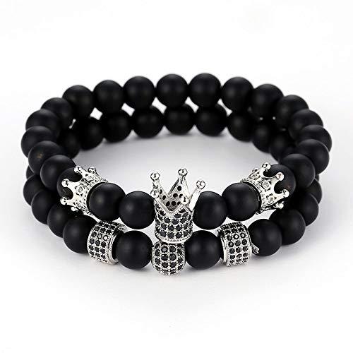 QYAQ Stone Bracelet For Women,7 Chakra Natural Matte Stone Beads Bracelet Elasticity Three Silver Crowns Bracelet Fashion Yoga Boho Lady Jewelry Mom Gift Couple Gifts