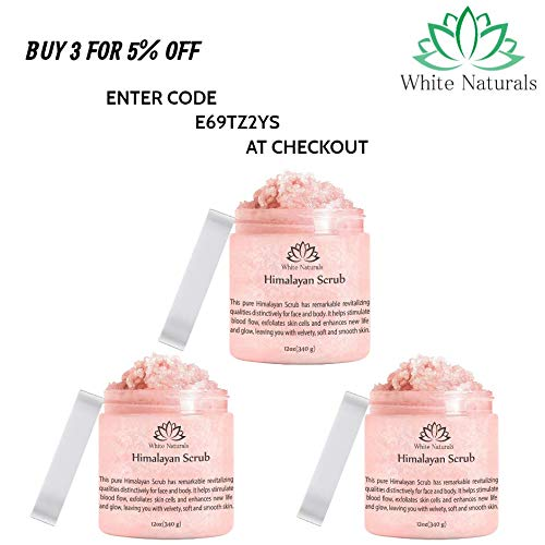 Pure Himalayan Pink Salt Body Scrub Wash With Exfoliate For Soft, Healthy Skin, Massaging For Sore Muscles