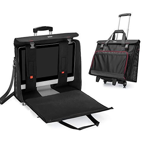 CURMIO Bolsa de Transporte rodante Compatible con el Ordenador de sobremesa Apple iMac de 21,5 Pulgadas, maletín de Almacenamiento Desmontable, Negro