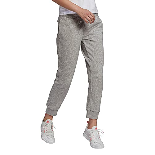 adidas Damen Essentials Regular Tapered Cuffed 7/8 7 8 Hose, Mittelgrau Meliert/Weiß., L EU