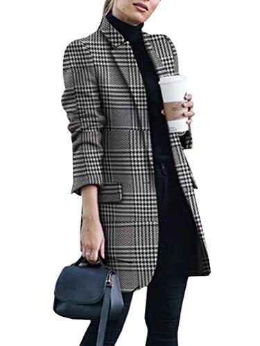 Onsoyours Damen Blazer Winter Revers Wollmantel Trench Jacke Lange Parka Overcoat Outwear Elegant Langarm Blazer Steppmantel Einfarbig Slim Fit Z2 Weiß 46