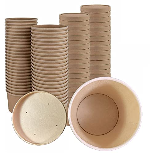 Soup Containers with Lids - 500 Pack Disposable Soup Bowls with Lids, Ice-cream cups (8oz)