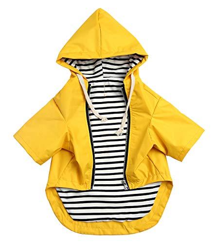 Morezi Hunde-Regenmantel mit reflektierenden Knöpfen, Reißverschluss, regen- und wasserabweisend, verstellbarer Kordelzug, abnehmbare Kapuze, Größe XS bis XXL, 0609