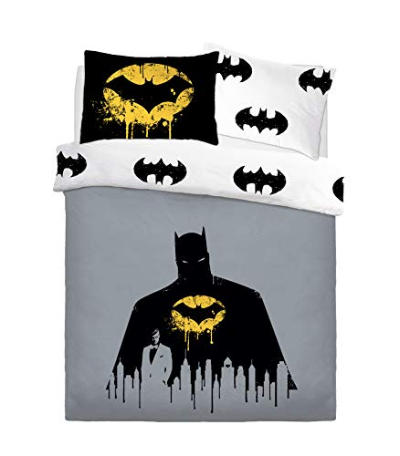 Warner Brothers Reversible Printed Batman Dark Knight Poly Cotton Duvet Quilt Cover Set, 3 Pcs - Double