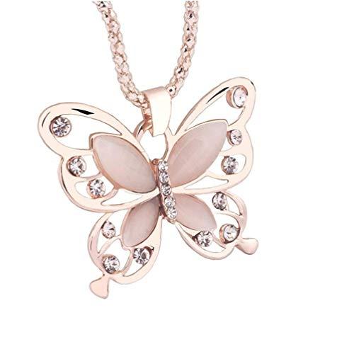 Nicedier Accesorios personales Cadena de Moda Señora Collar de Oro Rosa ópalo Mariposa Colgante, Collar del suéter de Las Mujeres