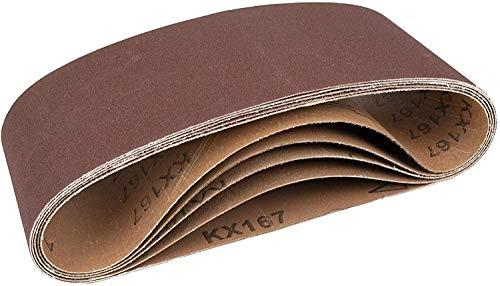 5 nastri abrasivi in tessuto, 100 x 610 mm, 1 grana 40-60 – 80-120 – 180 / per levigatrice a nastro/carta vetrata/set di nastri abrasivi