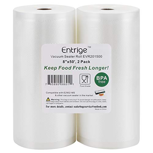 "Entrige Vacuum Sealer Bags for Food, 8"" x 50' Vacuum Sealer Rolls for Food Saver Bags Rolls, BPA-Free Vacuum Food Storage Bags for Sous Vide Vacuum Bags, Seal A Meal Bags Rolls, 2 Packs"