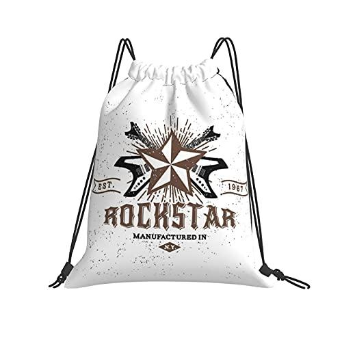 Nicegift Vintage Label Rockstar Mochila universal con cordón de viaje para adultos,deportes,fitness