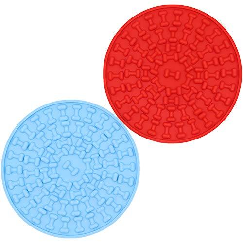 Leeyunbee 2 Piezas Almohadilla para Lamer Perros Silicona, Alimentador Lento Tapete para Lamer, Dispositivo de distracción para baño de Mascotas, Compañero de Ducha para Mascotas (Rojo y Azul)