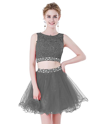 HEIMO Women's Beaded Lace Homecoming Dresses Short Sequins Appliques Prom Gowns H108 2 Grey-2