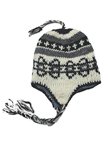 Hand Knit Unisex Wool Beanie Hat Ear Flap Fleece...