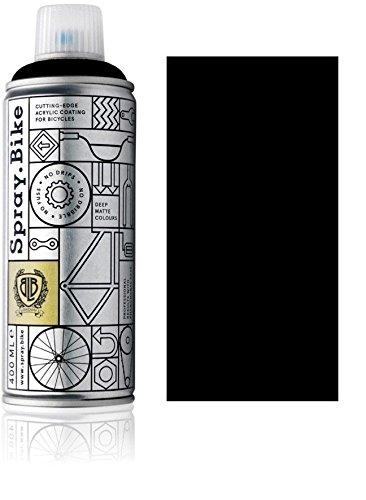 Fahrrad Lackspray in versch. Farben - Keine GRUNDIERUNG notwendig - Acryllack/Lack Spray in 400 ml Spraydose, Matt- und Klarlack Optik möglich (Schwarz Blackfrias, Matt)
