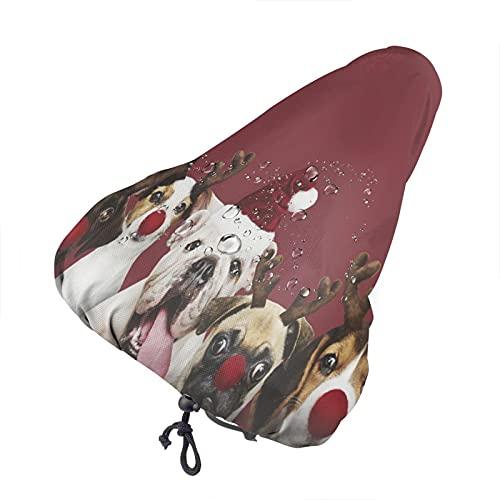Bong6o Funda para asiento de bicicleta de gel impermeable con diseño de cachorros y disfraces de Navidad, unisex, extra suave, duradera, resistente al agua