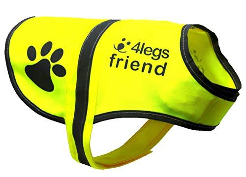 4LegsFriend Hunde Sicherheitsweste mit Leinenbefestigungsring 5 Größen - Hohe Sichtbarkeit für Outdoor Aktivitäten Tag und Nacht, Hält den Hund Sichtbar, Sicher vor Autos und Jagtunfällen (XL)