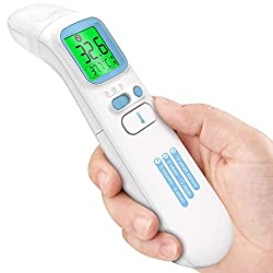 Forehead and Ear Thermometer, UNTIRE Infrared Digital LCD Display Thermometer, Non Contact Thermometer for Adults, Kids and Baby, Instant Reading, Fever Alarm, Memory Function