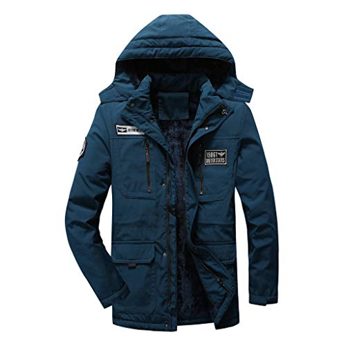Uqiangy Men's Fashion Cotton Padded Mid-Length Sherpa Lined Windproof Warm Parka Jacket with Hood(Blue,L)