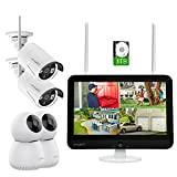 XMARTO 12.1-inch Screen Wireless Security Camera System (8CH 5MP HD IPS Screen NVR, 2K HD 2pcs Auto-Track Indoor PTZ Cameras and 2pcs Outdoor Security Camera with Audio, 1TB HDD and Cloud Storage)