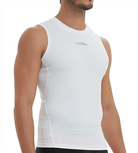 COOLOMG Herren Sport-Tanktop ärmellos BodyShaper Muskelweste schnell trocknend Unterhemden Kompressionshemd elastisch Sport-Shirts für Herren -  Weiß -  X-Groß