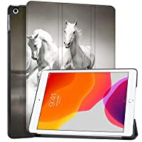 """MAITTAO Case for iPad 10.2 Inch 2019, Microfiber Lining Hard Back Shell with Auto Wake/Sleep, Slim Lightweight Trifold Smart Stand Cover for iPad 7th Generation 10.2"""" 2019,Akhal-Teke Horse 11"""
