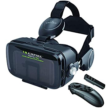 VR Headset Virtual Reality Headset 3D Glasses with 120°FOV Anti-Blue-Light Lenses Stereo Headset for All Smartphones with Length Below 6.3 inch Such as iPhone & Samsung HTC HP LG etc.