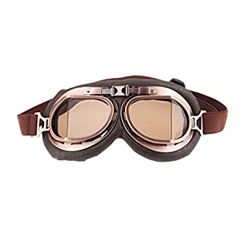 MUXSAM 1PC Motorcycle Goggles Steampunk Vintage Earhart Goggles Pilot Outdoor Sand Goggles for Half Helmet Cruiser Scooter Goggle Bike Racer Cruiser Touring Eyewear