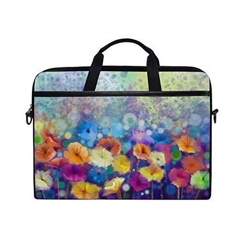 Ahomy Laptoptasche, 35,6 cm (14 Zoll), abstraktes Blumenmuster, Aquarell, Frühling, Sommer, Blumen, Leinenstoff, Laptoptasche mit Schultergurt für Damen & Herren