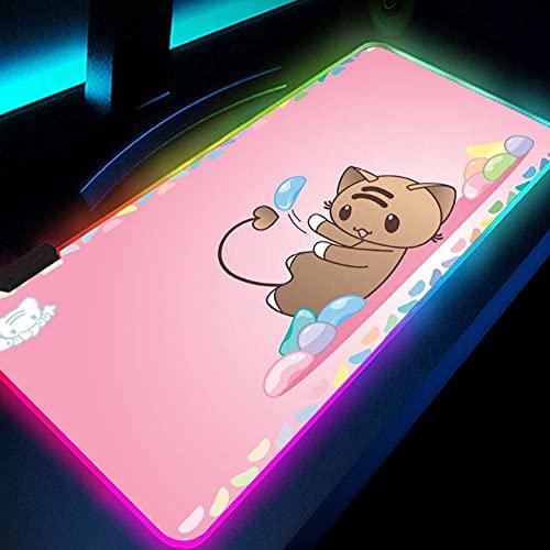 Tapis de Souris Gaming Rose Mignon Kawaii Chat Grand Tapis de Souris Accessoires de Jeu Gamer Fille RGB Tapis de Souris Ours rétro éclairé Tapis LED Tapis pour Pc Anime 800x400mm
