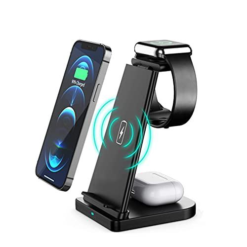 ALLWIN 2021 Nuevo 3 En 1 Cargador Inalámbrico, 15W Qi Qi Fast Vertical Wireless Cargador para iPhone 12/12 Mini / 12 Pro / 12 Pro MAX, FO Airpods Apple Watch 6 5 4 3 2,Negro