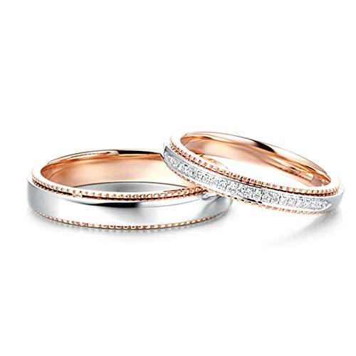 ANAZOZ 1 Paar Trauringe/Eheringe 18 Karat Gold Bandring Zweifarbig mit Diamant 0.05ct Eheringe Partnerringe Verlobungsringe Hochzeitsringe Damenring 49 (15.6) & Herrenring 61 (19.4)