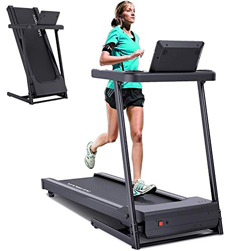 YODIMAN Folding Treadmill Electric Running Machine with 16'' Wide Tread Belt/LCD Display/Cup Holder, Easy Assembly for Home Use
