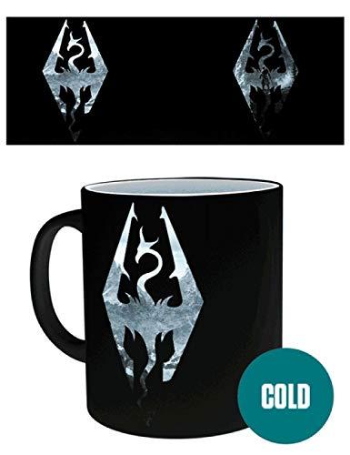 1art1 Skyrim - Drachen Symbol, Logo Zauber-Tasse Farbwechseltasse 9 x 8 cm