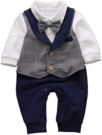 HMD Baby Boy Long Sleeve Gentleman White Shirt Waistcoat Bowtie Tuxedo Onesie Jumpsuit Overall product image