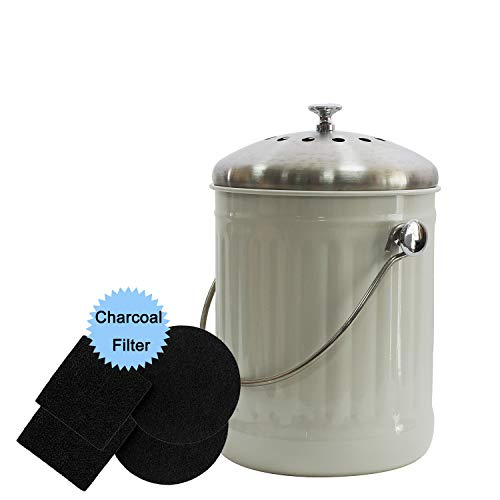 Cheap 4W Kitchen Compost Bin with 4 Charcoal Filters - 1.3 Gallon Indoor Compost Bin for Kitchen Cou...